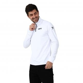 RARU - Raru Erkek Yarım Fermuarlı Sweatshirt URSUS BEYAZ (1)